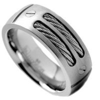 8MM Men`s Titanium Ring Wedding Band with Stainless Steel Cables and Screw Design