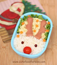"""""""Cute Food For Kids"""" ?: Santa's Rudolph is in my lunch box!"""