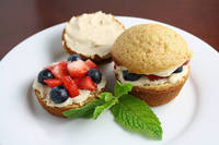 Brown Sugar Cakelets with Brown Sugar Cream Cheese Filling and Berries