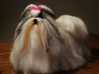 Felted Shih Tzu Dog Sculpture