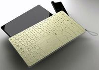 Combination of tablet, mobilephone and lizard-skin cover which doubles as Bluetooth keyboard.