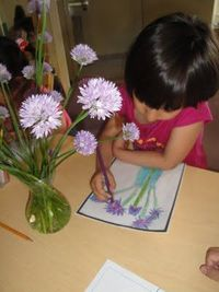 Put a vase of fresh flowers out for the children to draw.