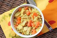 coconut chicken and rice with carrots