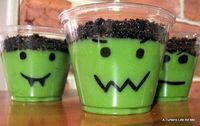 For Halloween, draw faces on the cups with a black Sharpie. Add vanilla pudding tinted with green food coloring. Crush some Oreos to sprinkle on top of the pudding.