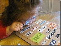 Eye Spy Letters...love the addition of the magnifying glass