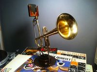 old trumpet turned into iphone speaker. kinda DIYish!