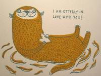 I'm Otterly In Love with You Handprinted Valentines Card from etsy.com