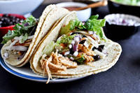 Crockpot Cheddar Beer Chicken Tacos How Sweet It Is