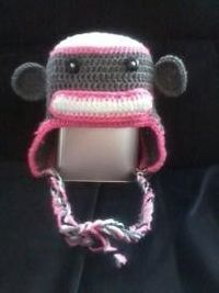 Sock Monkey Hat - Crochet - Girls Teen / Adult 12.00