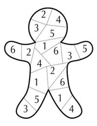 Gingerbread Dice Game - roll the dice and color the number you rolled. 1st one to fill in all of the gingerbread is the winner.