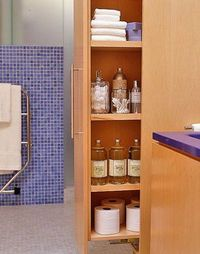 pull out kitchen pantry used in a tall, narrow bathroom space