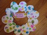 dandelion painting and Easter wreath