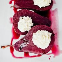 red wine poached pears with vanilla bean mascarpone filling! tonight will be a good night. :)