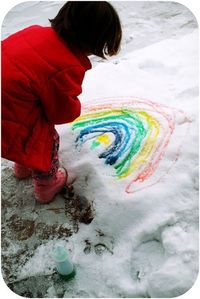 Snowy day activity--Fill bottles with food coloring and water and paint!