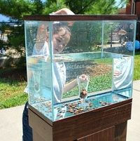 Inexpensive game using a fish tank, jar, water and pennies! Great for an ocean theme party or an outdoor party with carnival style games.