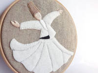 Embroidery Hoop Art - Whirling Dervish - Semazen Wall Hanging - Rumi, Sufi, Wall Art - White, beige, natural from etsy.com