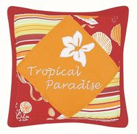 Throw pillow adorned with stripes, shells and a hibiscus.