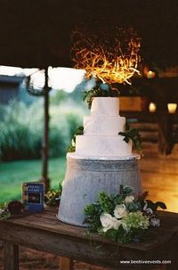 galvanized bucket...nice rustic presentation