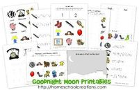 FREE printables to go along with the book Goodnight Moon by Margaret Wise Brown. For #preschool and #kindergarten from Homeschool Creations (M=Moon)