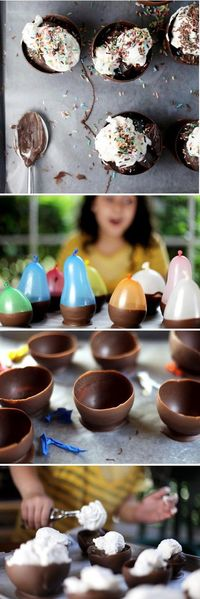Dip balloons into chocolate. Pop when they harden. Add ice cream! Tons of fun!