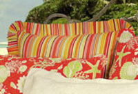 Coral, yellow and lime striped euro sham.