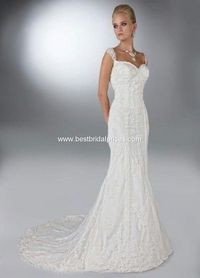Davinci Wedding Dresses, Spring 2012. Slim a-line lace and tulle gown with a sweetheart neckline and sheer cap sleeves that extend into an oval back with zipper.