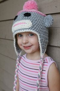Adorable Sock monkey hat- Crochet