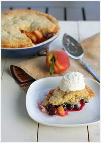 peach blueberry cobbler pie. delish