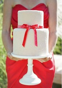 red bow ribbon cake