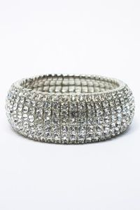 Send the Trend - Halle Silver Crystal Bangle