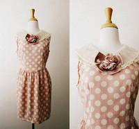 Vintage 'All Sweetness And Light' Blush Pink Polka Dot Lace Collar Dress from etsy.com