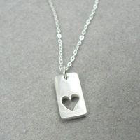 True Loves Heart sterling silver love charm necklace jewelry by asilomarworks
