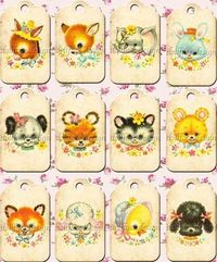 Kawaii Vintage Baby Animals Gift Tags - Printable Digital Download
