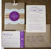 vintage styled wedding invitations. i'm liking either the purple or a purple and green combination.