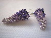 Shades of purple  Sterling silver earrings with tiny polymer clay flowers from dark to light purple shades...  Very fine and delicate, all tiny flowers are molded and assembled one by one and enhanced with sterling silver ball headpins.