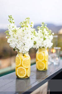 garden party decorations lemon centerpiece