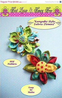 Big 30% Off Sale Fabric Flower Pattern, Kanzashi Flower, Kanzashi Fabric Flower PDF Pattern, Easy to Make, Brooch, Pin, Bouquet, Accesso from etsy.com
