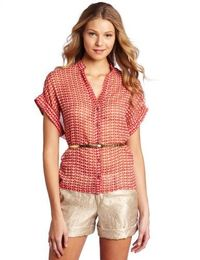 Willow & Clay Women's Button Up Print Blouse